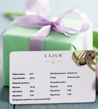 Certyfikat autentyczności od firmy Łazur